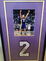 Authentic Derek Fisher Autographed 30x18 Shadow Box